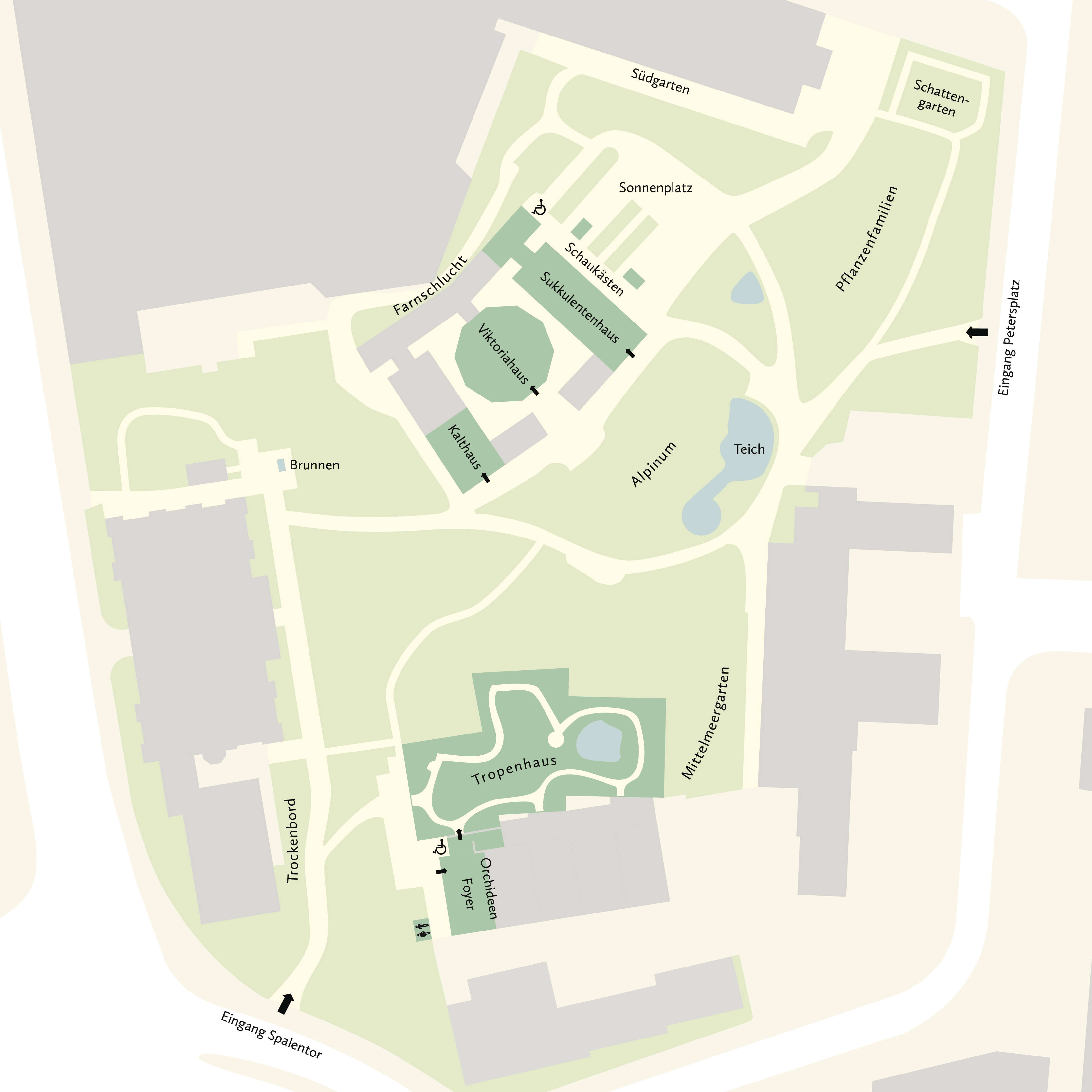 plattegrond botanische tuin Bazel CH