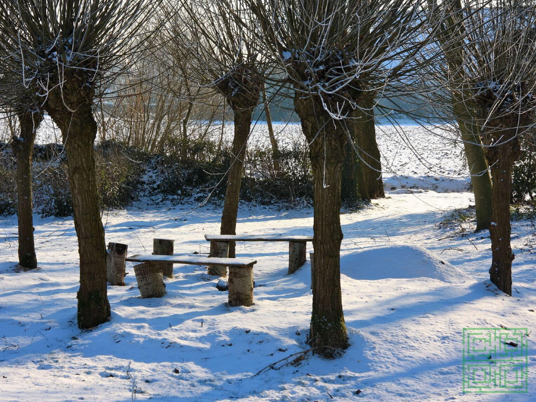 sneeuw in onze landschapstuin