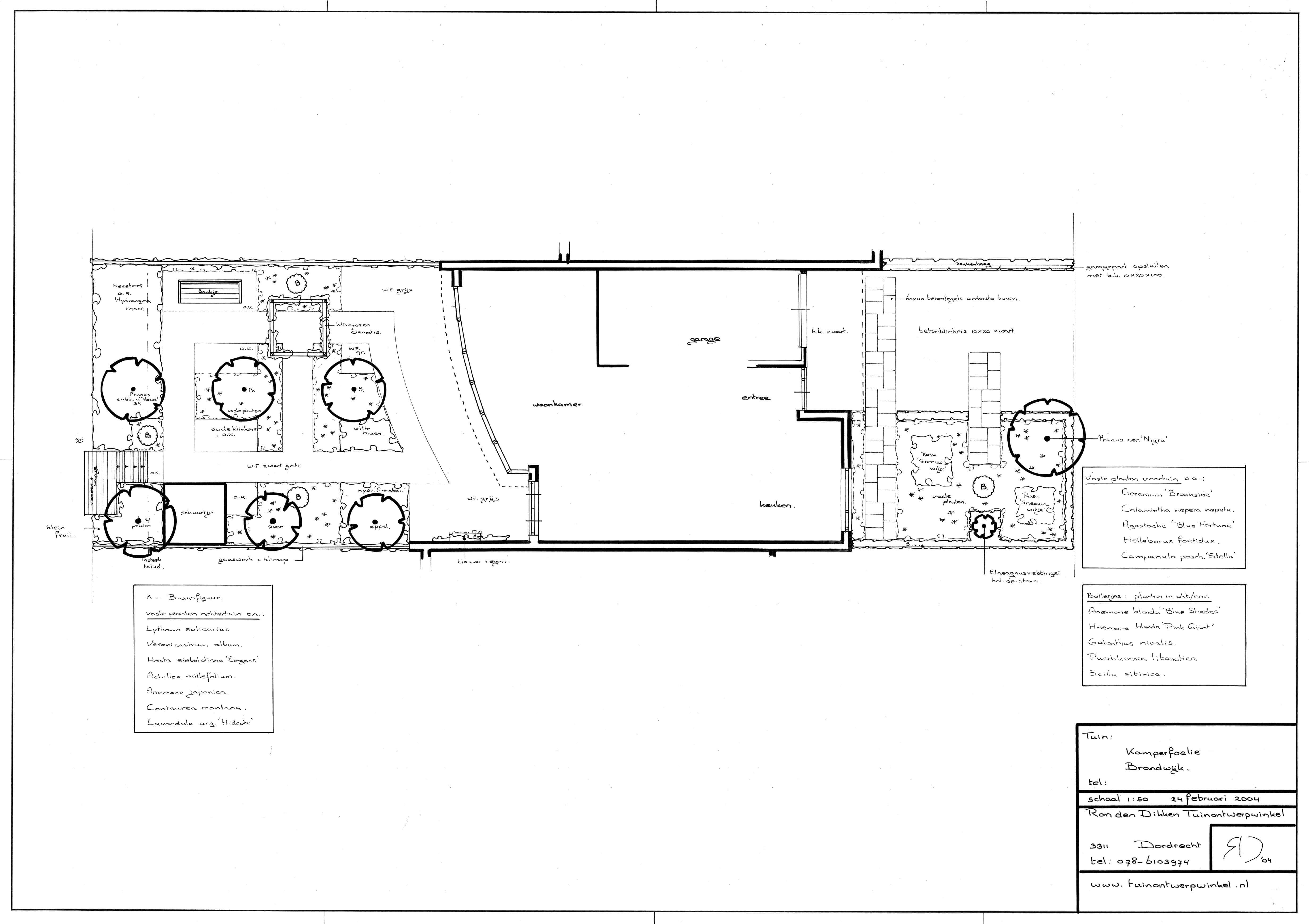 ontwerp ; eensgezinswoning voor-en achtertuin